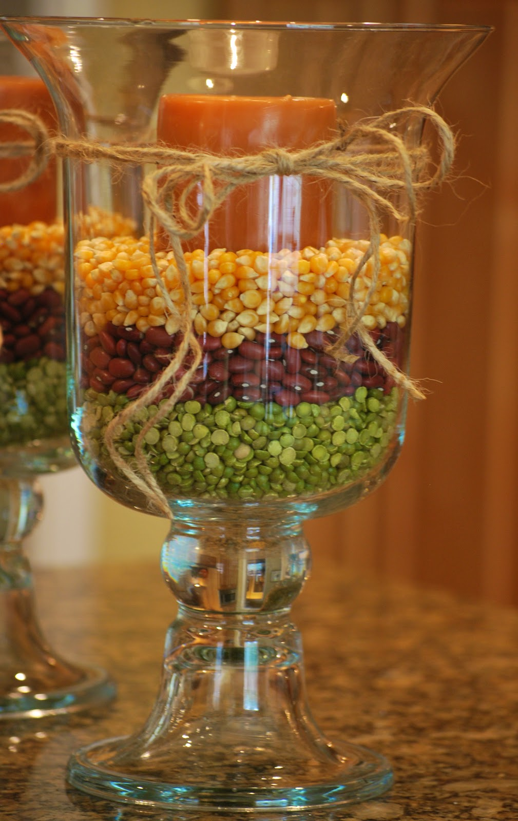 Fall decorating with hurricane vases amanda jane brown for Table centerpieces for home