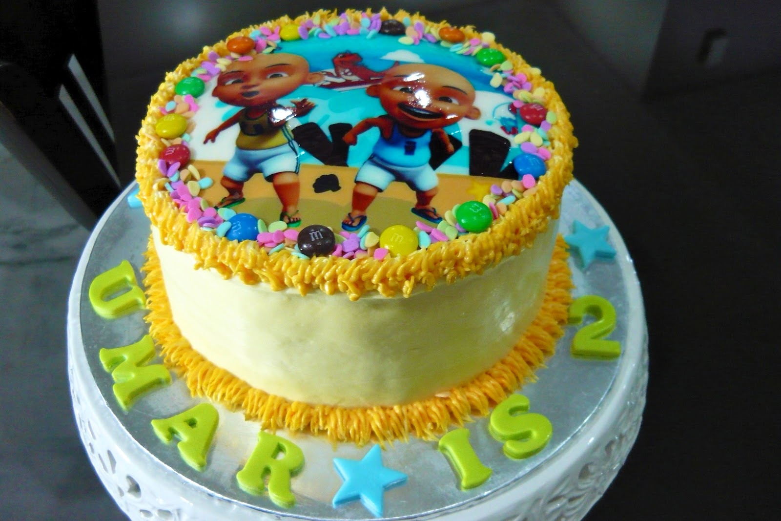 crazy about cupcakes!: Ombre Cake with Upin & Ipin and Boboiboy EI