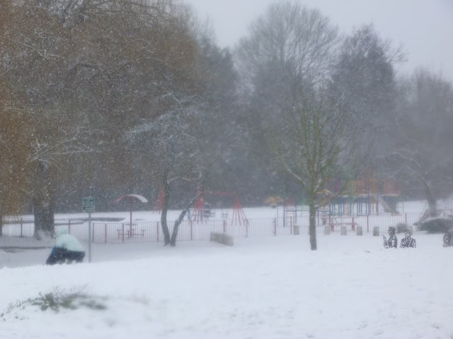 A photograph of Central Park, Harold Hill, Essex in the snow in January 2013