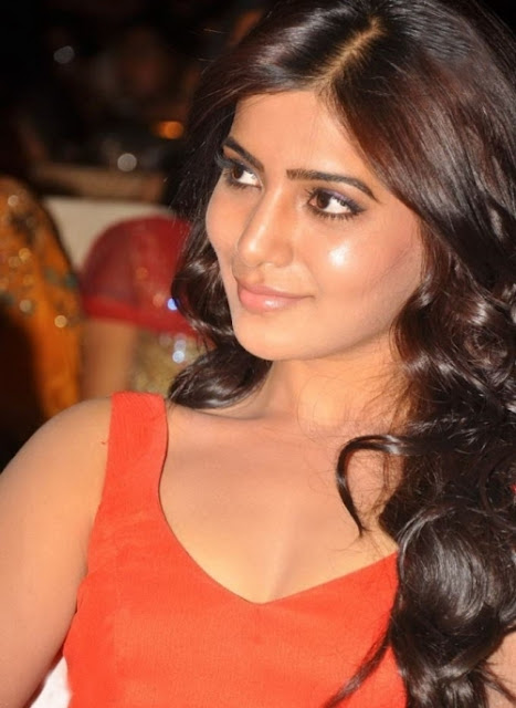 tollywood cute actress samantha latest red dress photoshoot samantha