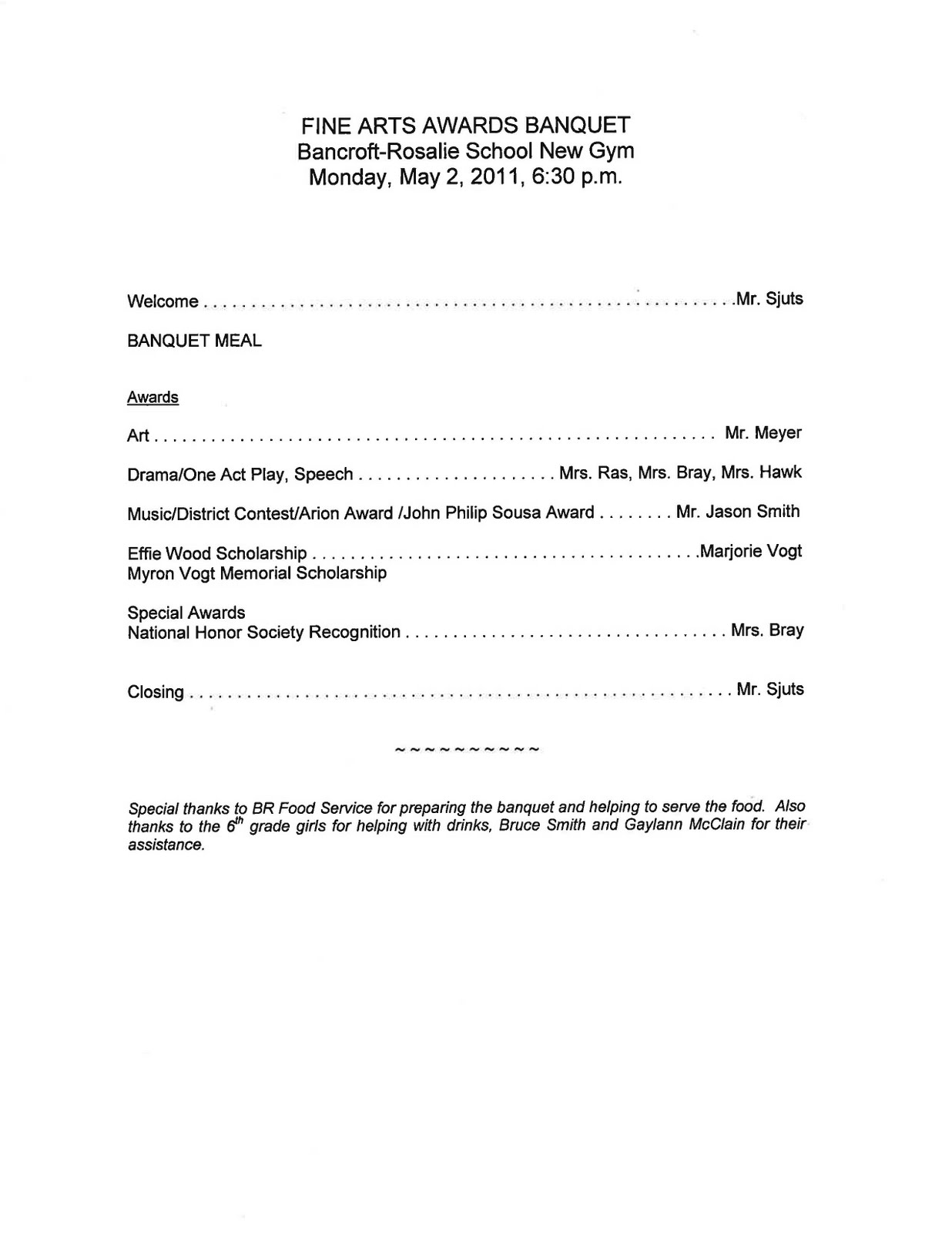 Dr Cernys BR Hype May 2011 – Banquet Agenda Template
