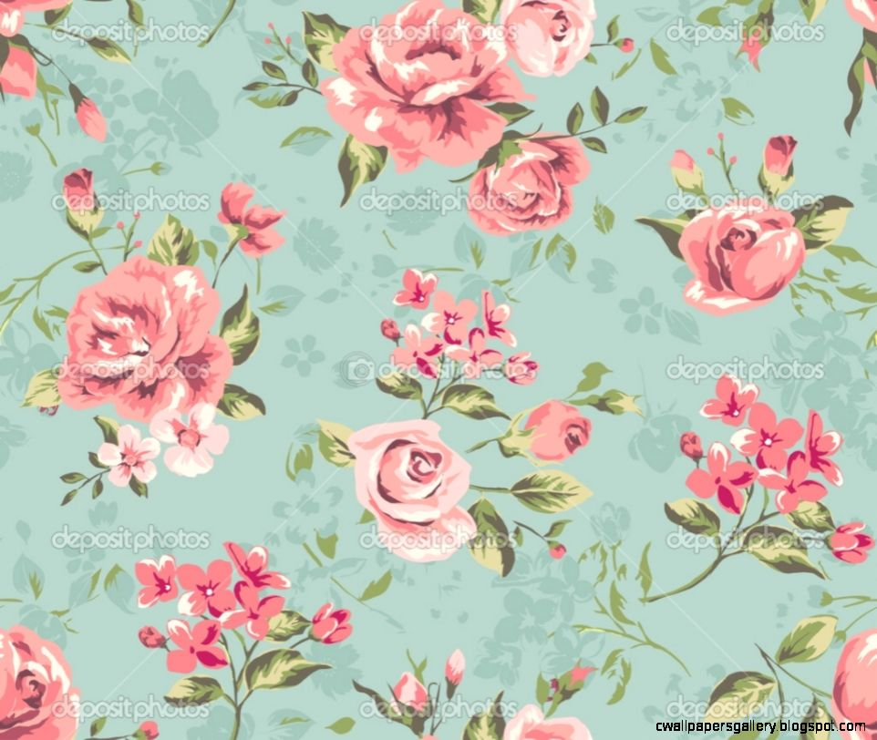 pink vintage flowers wallpaper