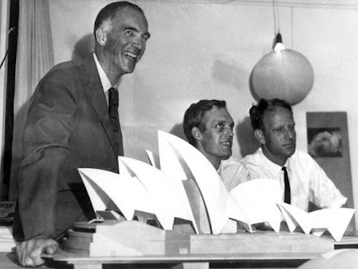 Jørn Utzon with his winning model for the Sydney Opera House