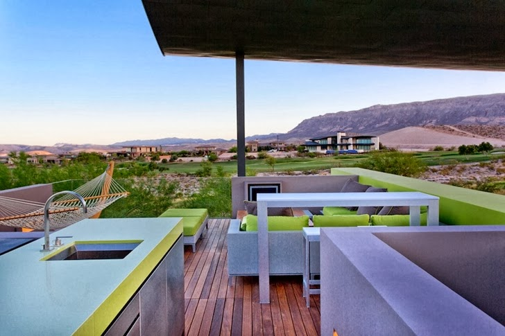 Terrace with kitchen in Multimillion modern dream home in Las Vegas