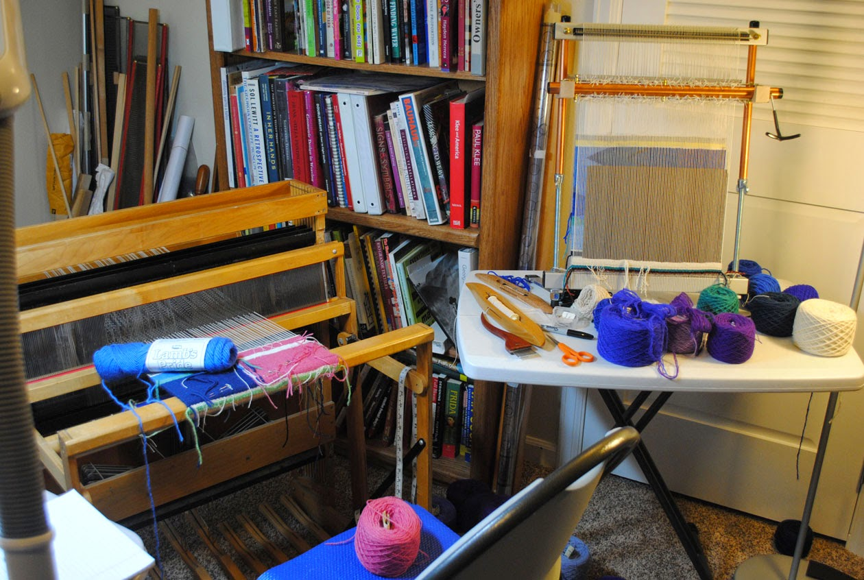 Macomber Jack Loom To The Left With Tapestry Yarn Fabric Samples And Mirrix Right Will Soon Have An Complimentary Color Sample On It