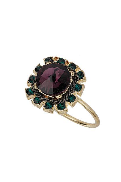 gold square rhinestone ring