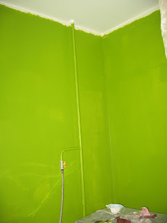 стены на кухне, первый слой зеленой краски, угол с газовой трубой