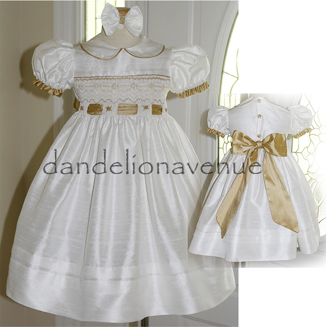 Dandelion avenue ivory and gold smocked silk flower girl dress i just love how this little dress turned out it is made of ivory and gold dupioni silk it features an inserted sash and lots of pearls sewn into the mightylinksfo