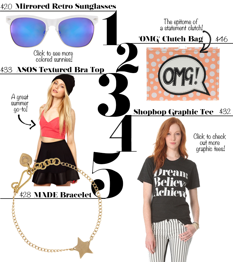 ASOS Sunglasses, OMG clutch and coral textured bra top, Shopbop graphic dream believe achieve tee, MADE brass star bracelet, fashion finds under $50, Chi City Fashion, ChiCity Fashion, Chicago fashion blogs, fashion fashionista
