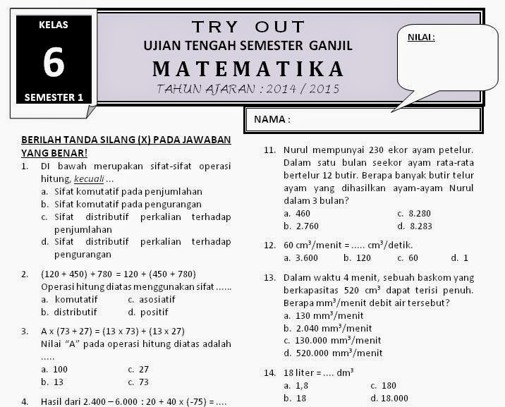 Download Soal Kelas 6 Matematika Uts Ganjil Rief Awa Blog Download Kumpulan Soal Ujian