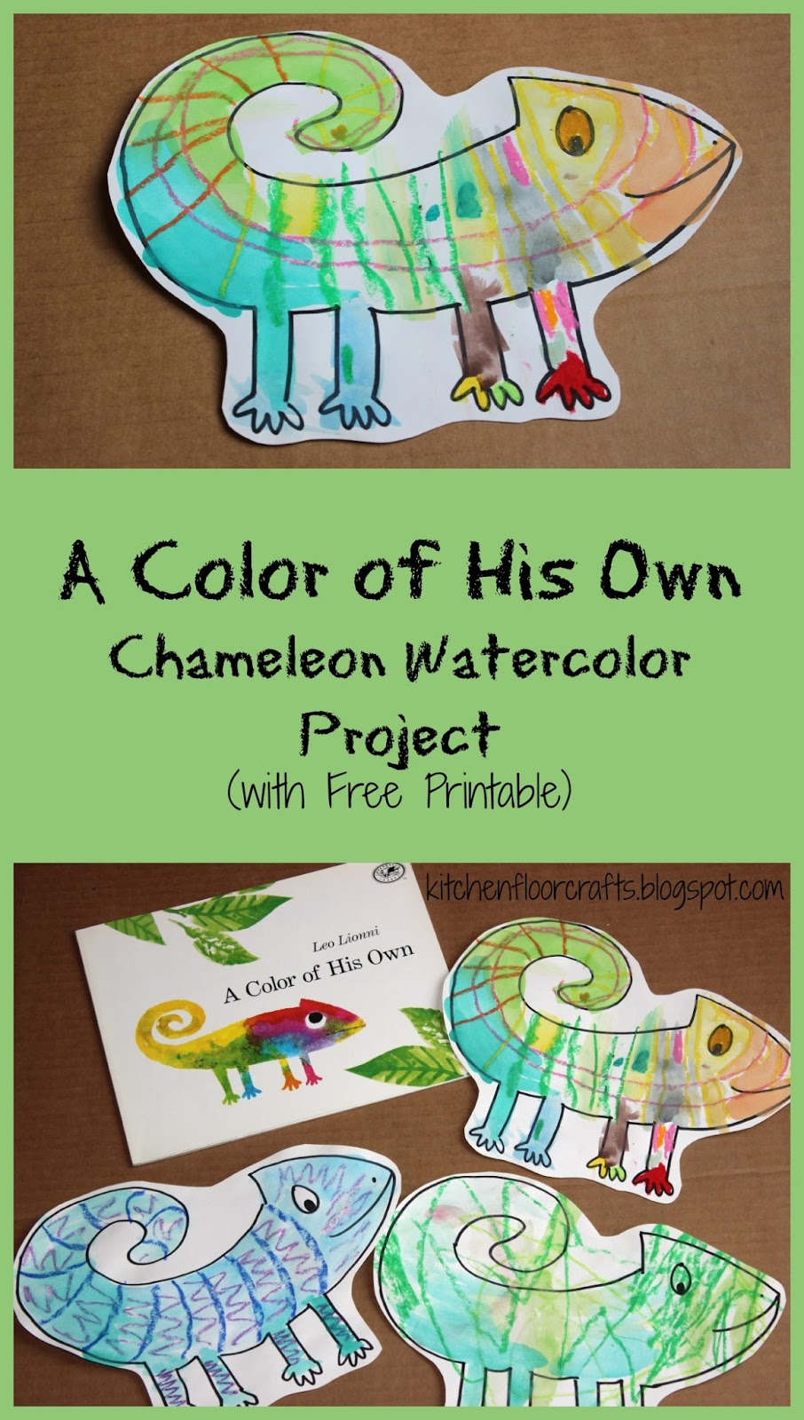 Kitchen Floor Crafts: A Color of His Own: Chameleon Watercolor Project