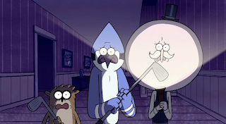 What's got these guys looking so scared? Oh, um, I dunno, maybe SOMETHING SCARY! Get ready to get spooked on the all new half-hour Regular Show Halloween Special at 7:30/6:30c on Cartoon Network!