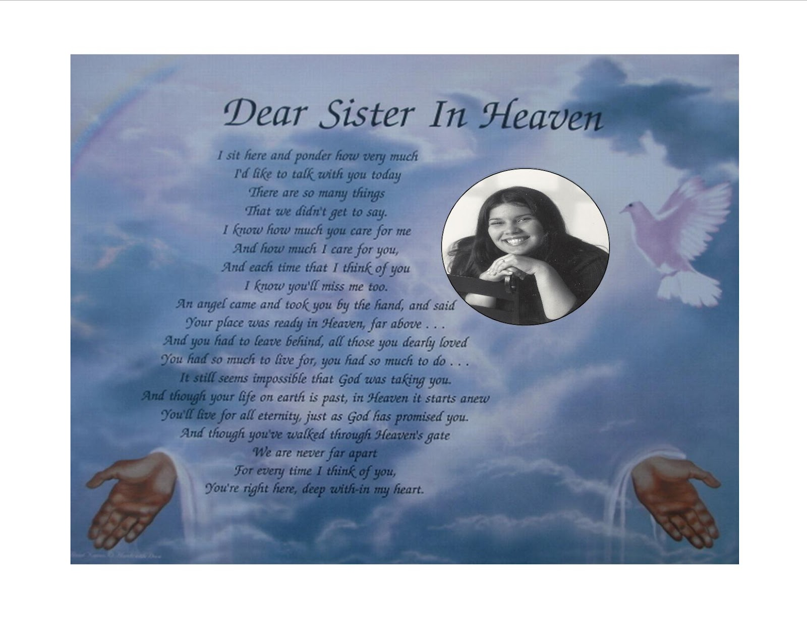 Birthday Poems For my Sister in Heaven my Sister in Heaven Poems
