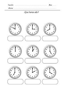 Atividade com horas Relógios para Completar - Que horas são 4