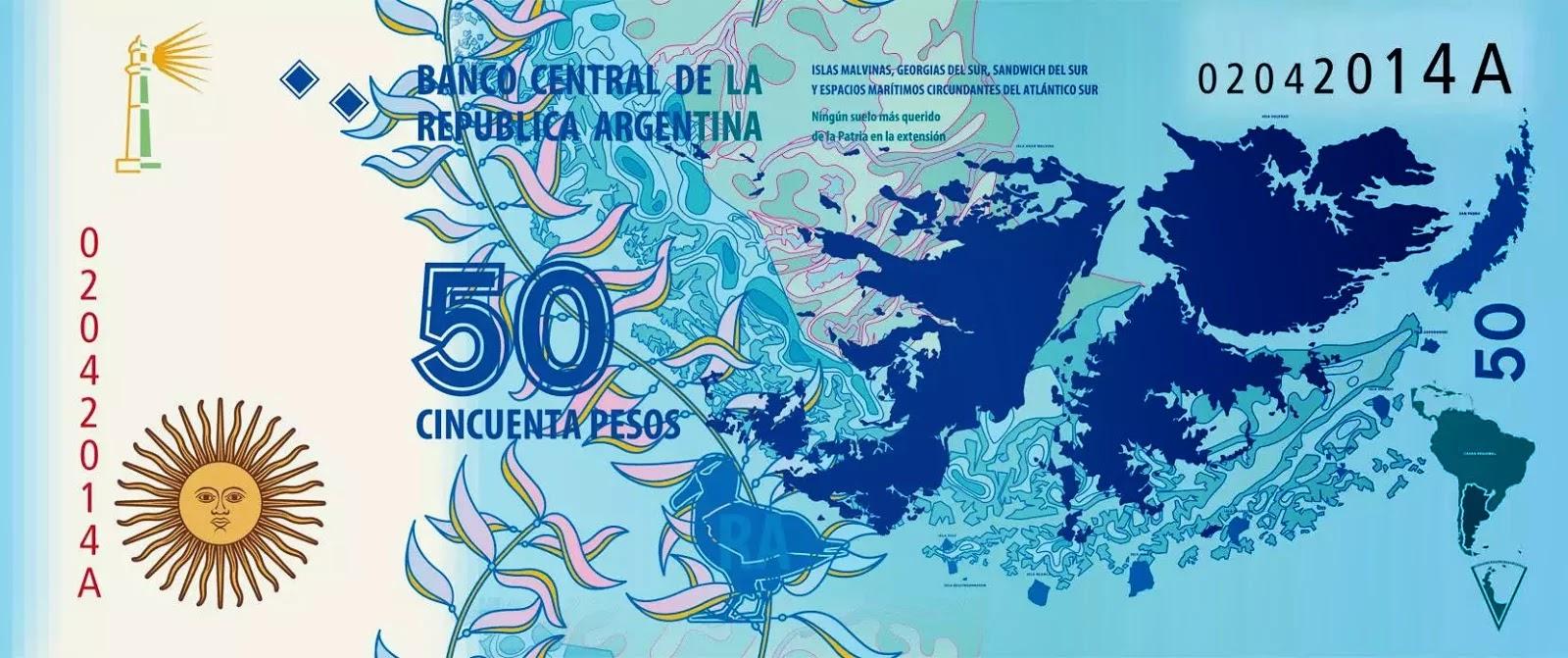 Nuevo billete de 50 pesos con motivo de las Malvinas anverso