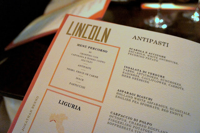 The menu at Lincoln in NYC