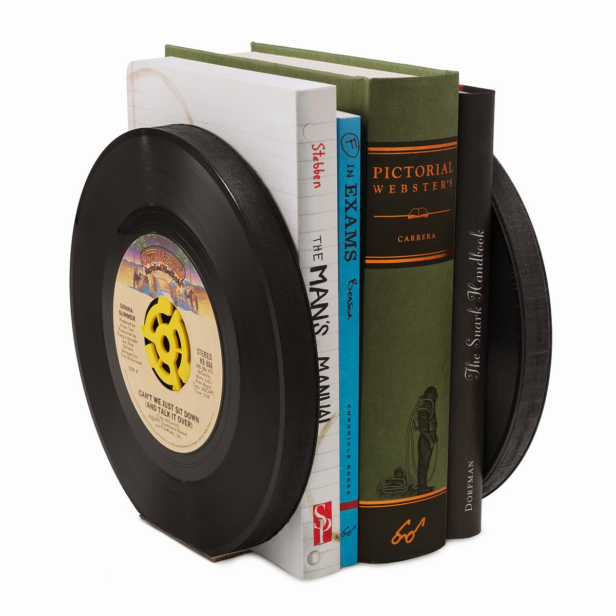 http://www.uncommongoods.com/product/recycled-record-bookends-set-of-2