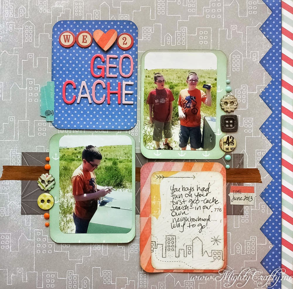 We Love To Geo Cache for Sketch N Scrap sketch #58 -- www.MightyCrafty.me