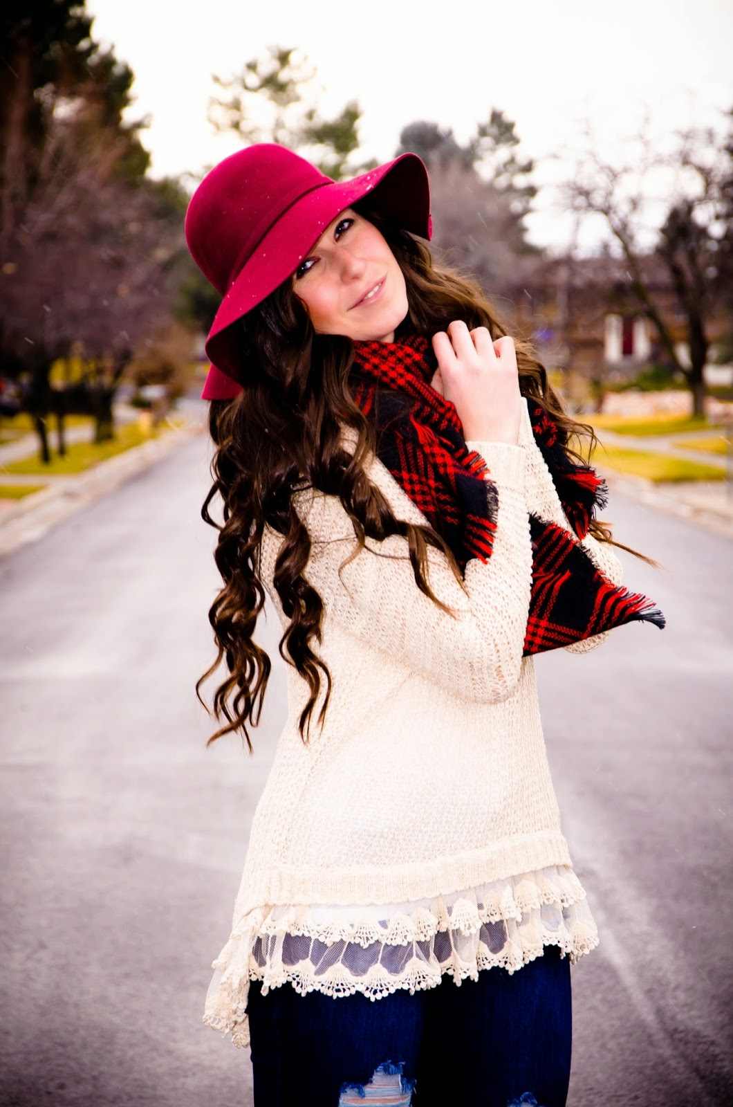 lace up booties, lace up high heel booties, high heel boots, burgundy hat, burgundy over the knee boots, cozy outfit, cozy sweater, cozy sweater tunic, cozy wear, plaid scarf, shop-stellab, stella b, stella b clothing, black five, blackfive clothing, holiday casual look, holiday cozy look, cold weather outfit, pretty,