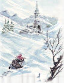La viejecita, encorvada por el viento, subía penosamente en dirección a la Iglesia.