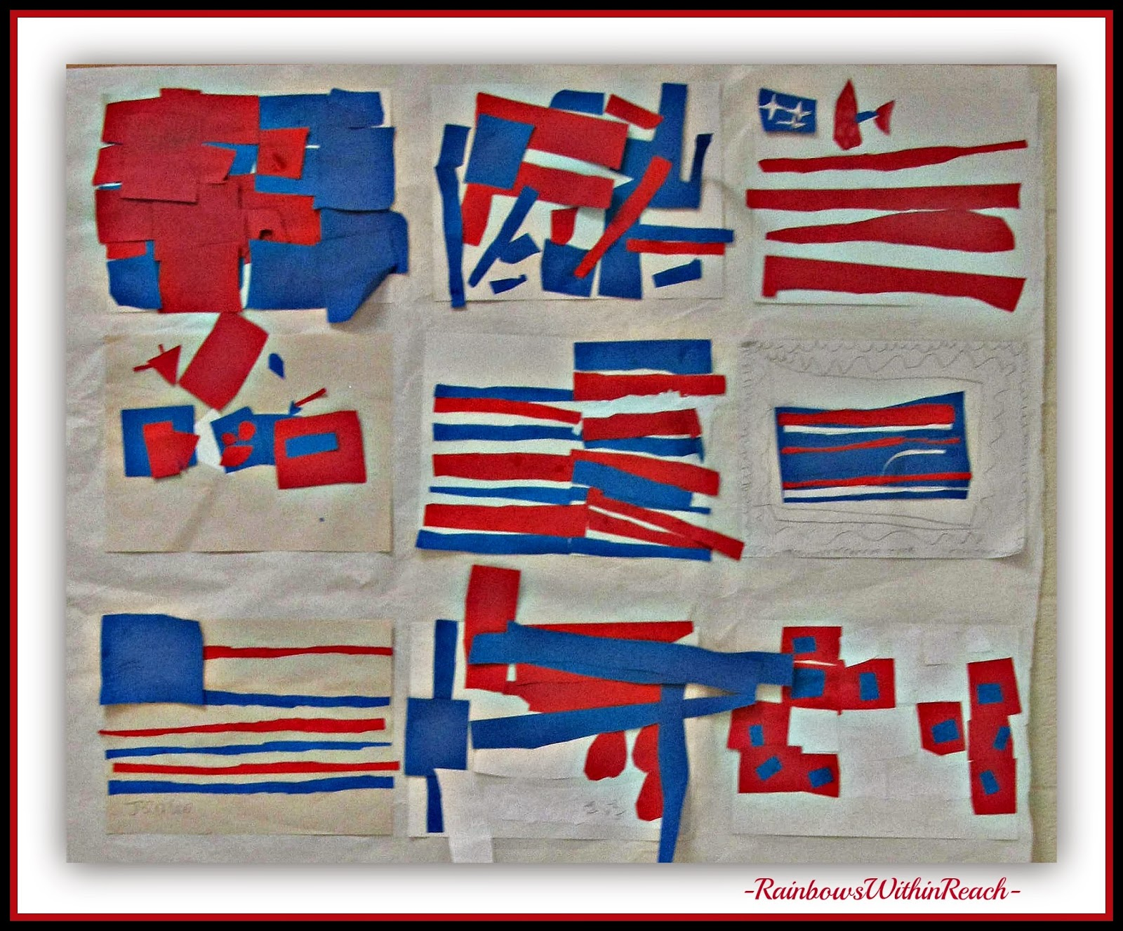 "Kindergarten Art in Response to ""Red, White and Blue"" by Debbie Clement"
