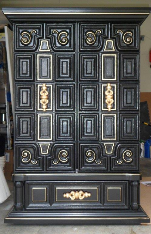 Merveilleux Black Lacquer Armoire, Black And Gold, High Gloss Furniture