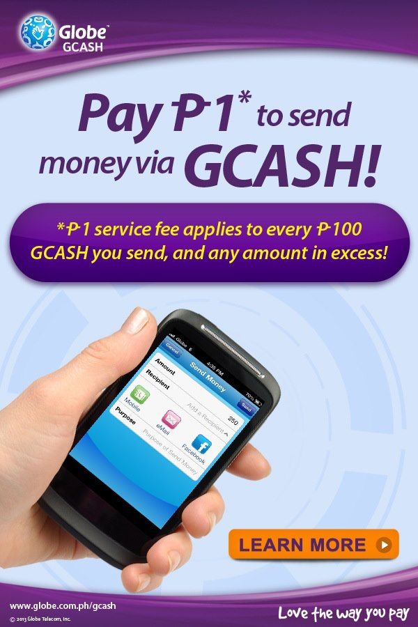 Send Money via GCASH for as low as P1