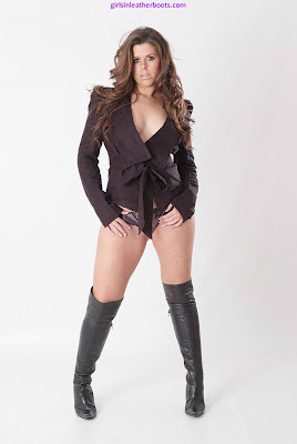 Sexy Brunette Leanne Leather Boots and Blouse