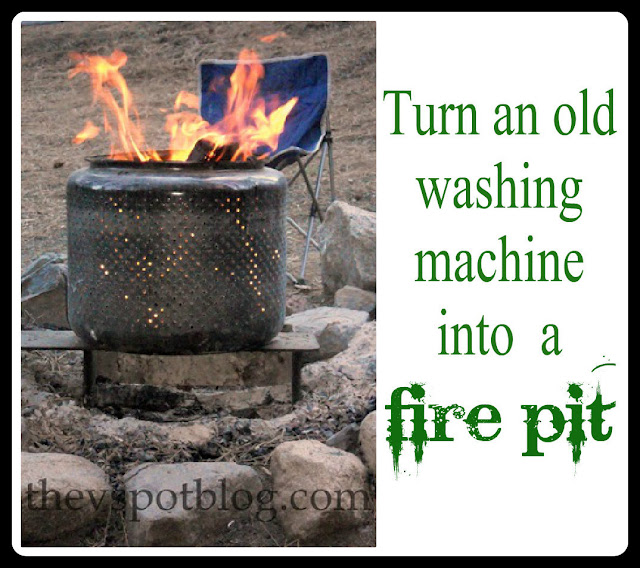 How to turn an old washing machine drum into a fire pit.