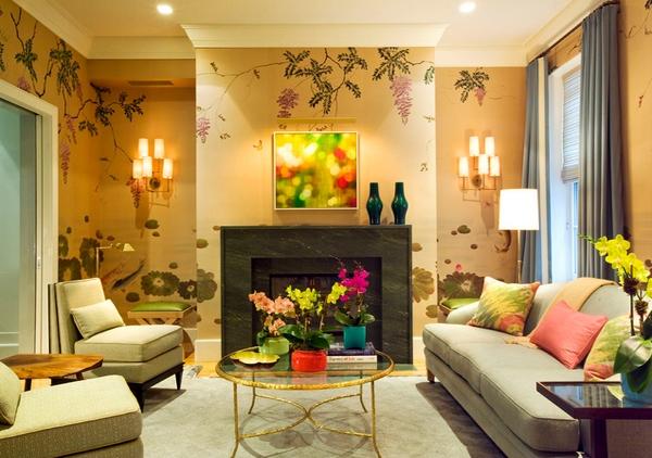 wallpaper alam cantik untuk ruang tamu rancangan desain