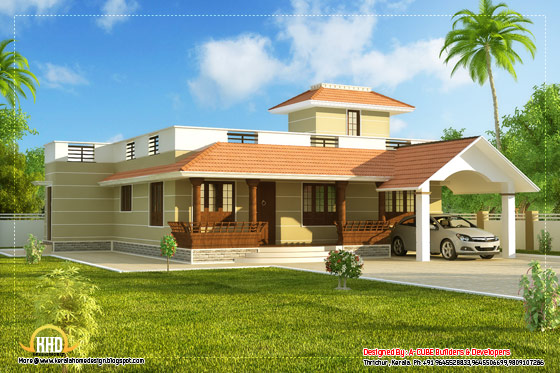Single story Kerala model house with car porch 1395 Sq.Ft. (130 Sq.M.) (155 Square Yards) - April 2012
