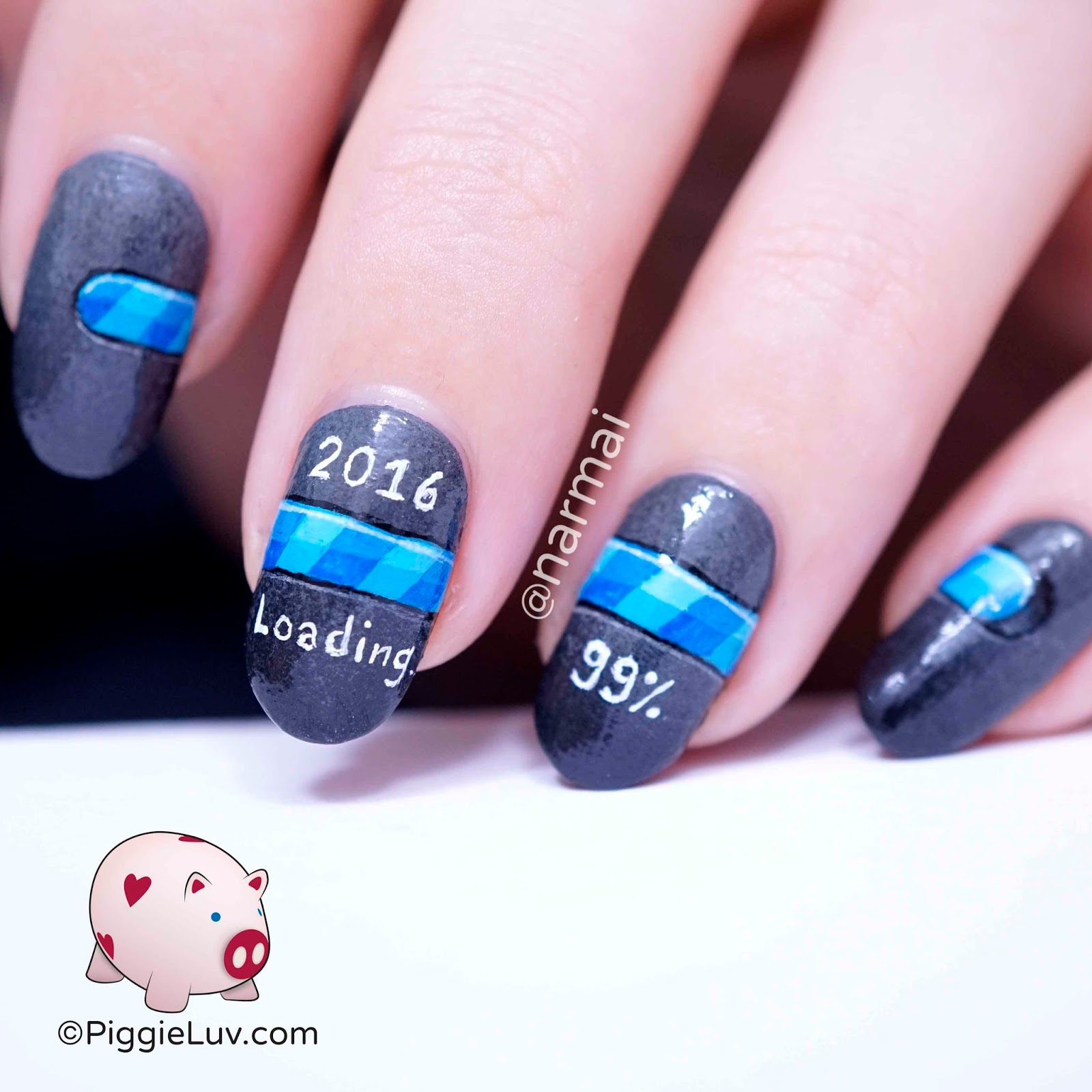 PiggieLuv: 2016 is loading! New Year\'s nail art
