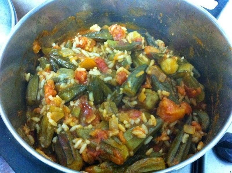 במיה עם עגבניות ואורז