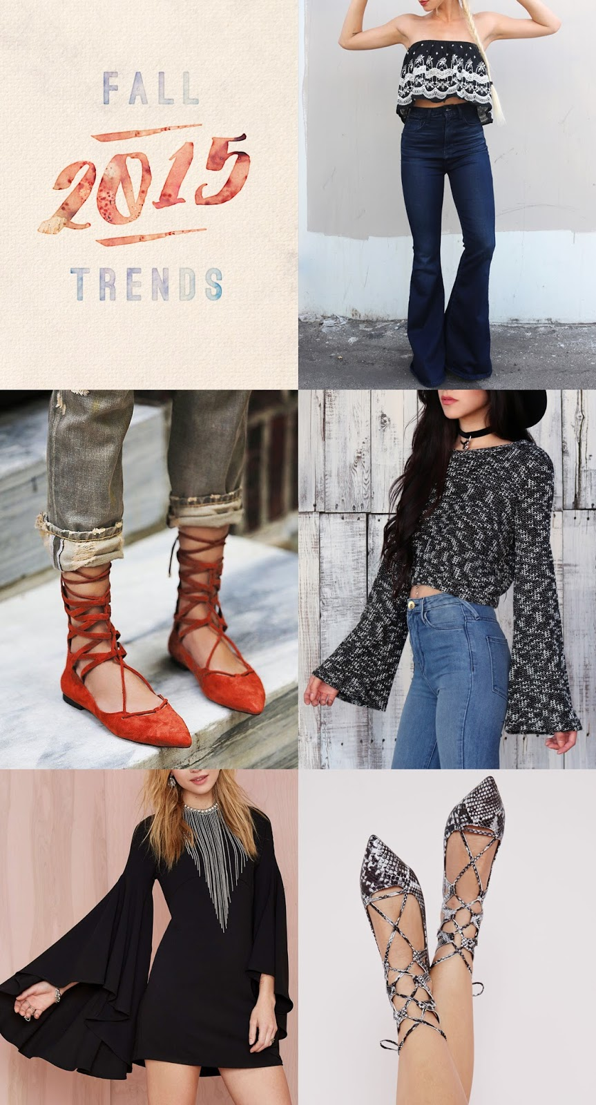 Fall 2015 trends - bells & lace-up