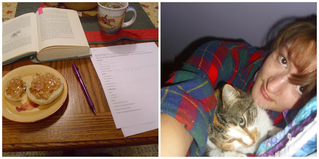 December collage books at breakfast cat plaid
