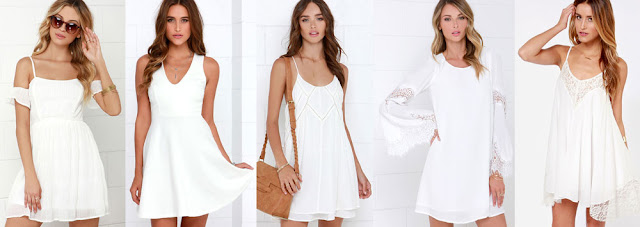 Here are some of my favorite white day dresses from LuLu's, with off-shoulder dresses, V-neck skater dresses, flowy slip dresses, lace bell-sleeve dresses, and babydoll dresses.
