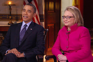 Barack Obama and Hillary Clinton on 