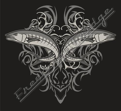 Fishing Tribal T-shirt design : Freelance Fridge- Illustration ...