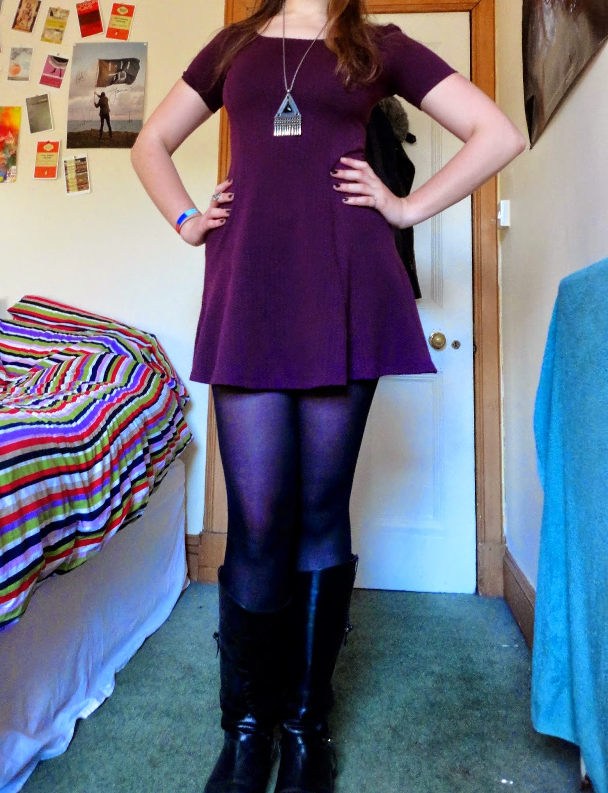 outfit of purple dress & black boots