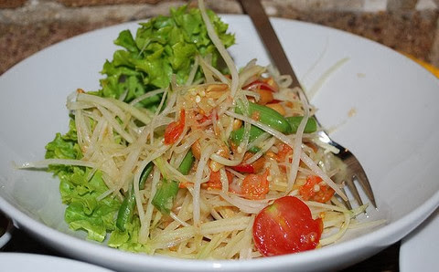 Papaya Salad with Dried Shrimps and Cherry Tomatoes