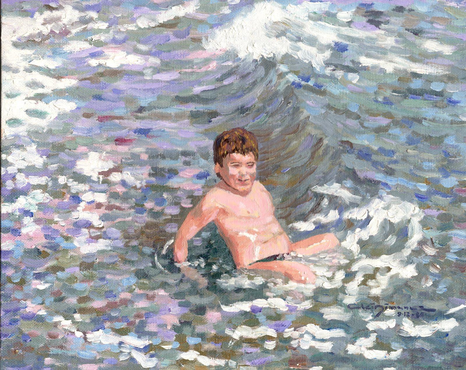 Eli en la platja de Puçol - any 1986