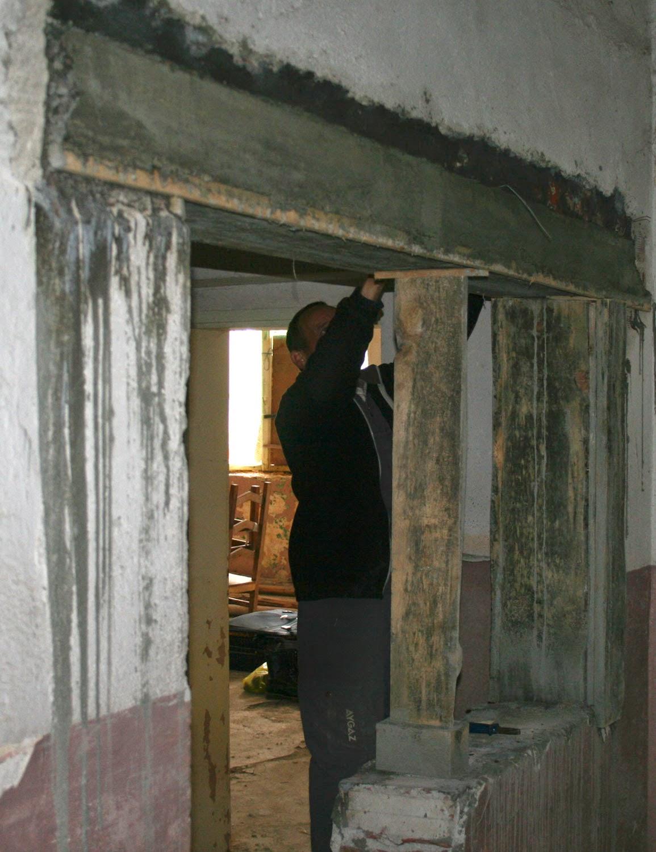 Bekir removing the lintel frame
