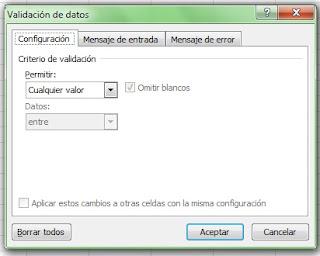 Validación de datos Excel 2007