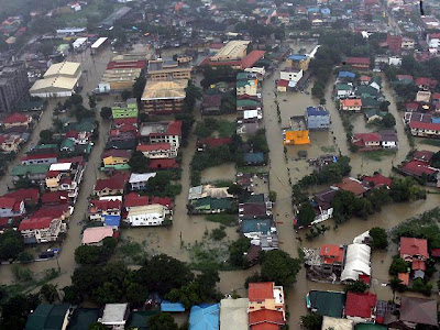 an aerial photo taken from a Philippine Air Force helicopter of Caloocan City