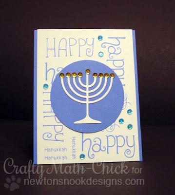 Happy Hanukkah Menorah card by Crafty Math Chick | Simply Seasonal by Newton's Nook Designs