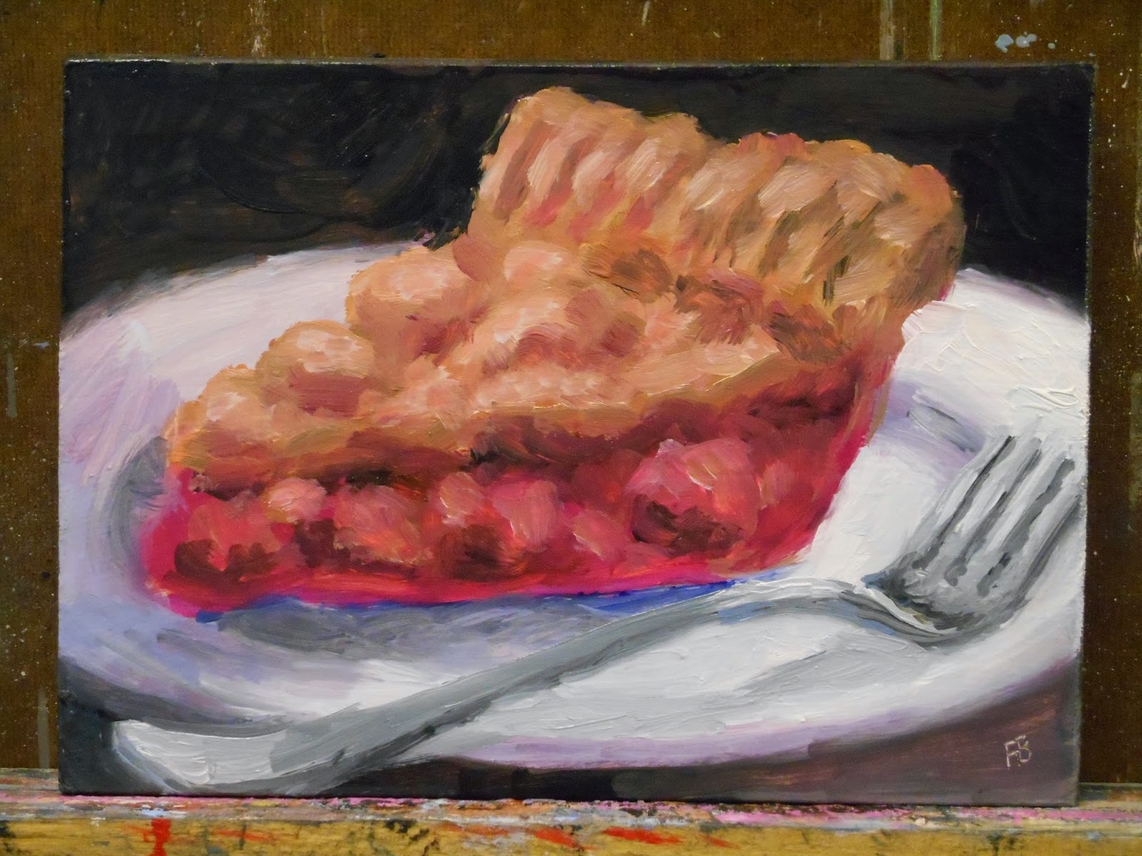 Apple, pie, painting, fred bell