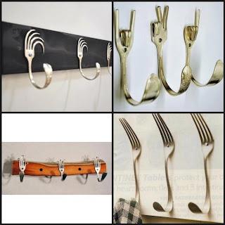 Tenedores reciclados como perchas Fotos de reciclaje