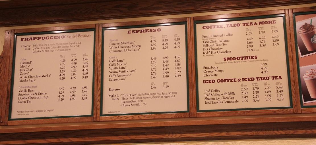 Starbuck S Beverage Pricing In Dca