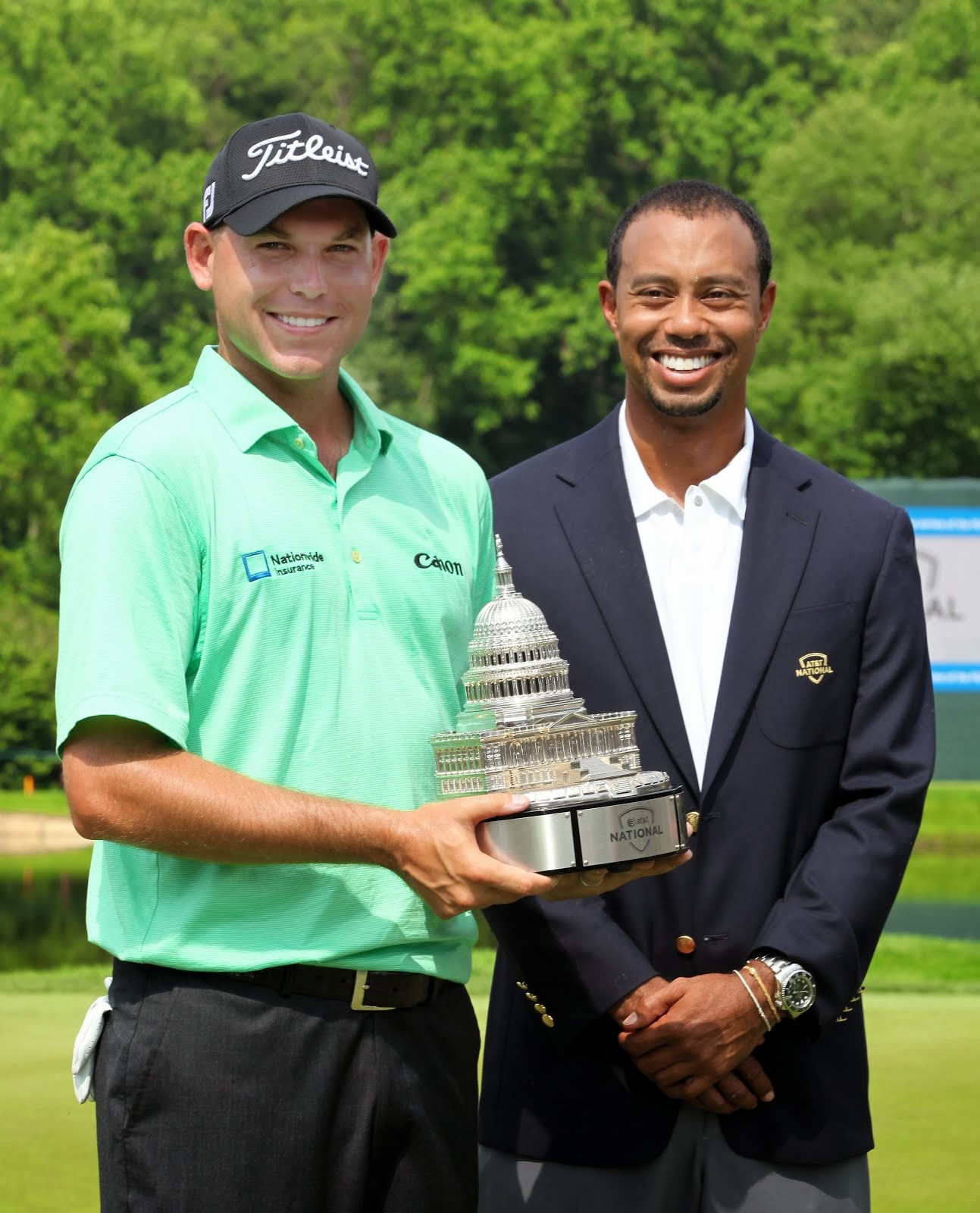 TIGER with the winner Bill Haas at the AT&T National in D.C