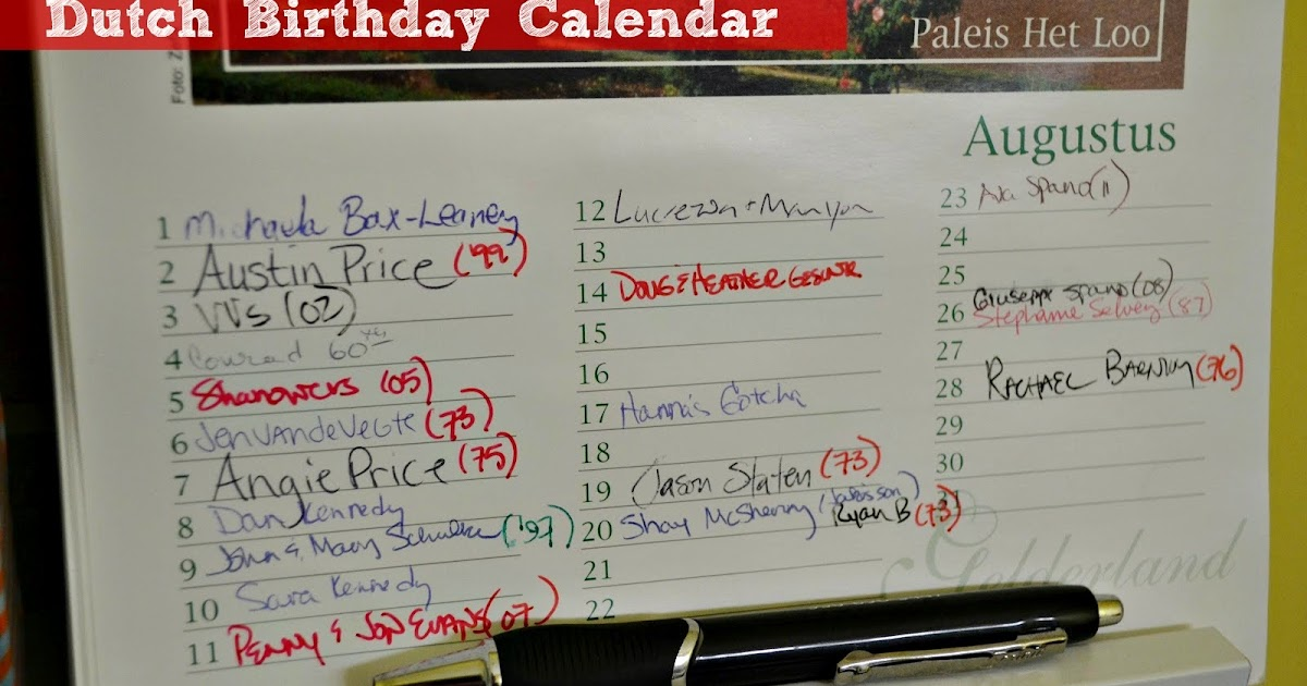 office birthday calendar